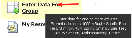 Click Enter Data for a Group
