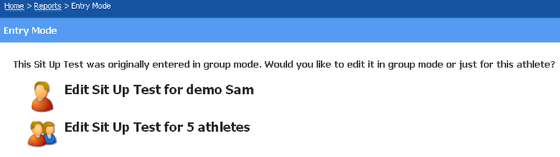 Editing or Reviewing Data Entered for a Group of Athletes