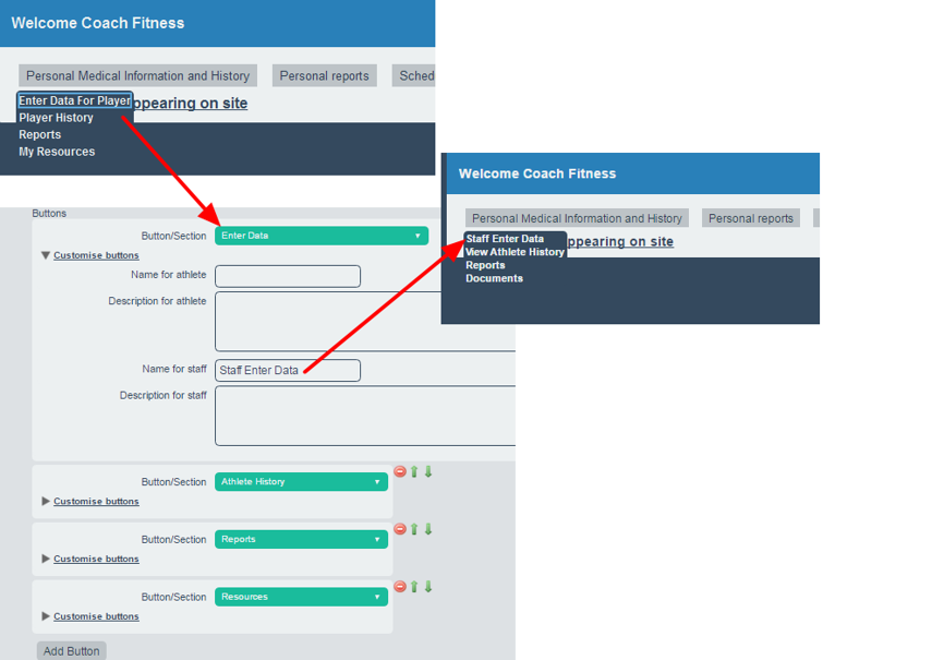 Note that if custom labels are set for the modules these appear in the drop downs