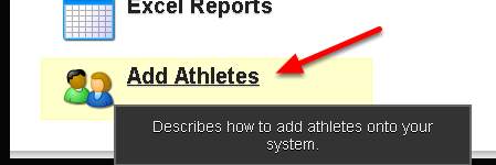The Add Athletes button as it appears on the Home Page