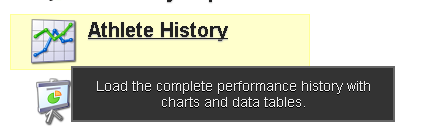 Athlete History appears on the Home Page of the main site. It enables a user to review all of the history for an athlete by event form. If they are an athlete with this permission they can see all of their own history.