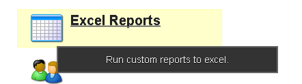 The Excel Reports Module appears on the Home Page of the site