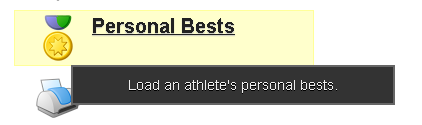 The Personal Bests button appears on the Home Page of the site