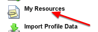 The My Resources button appears on the Home Page of the main site