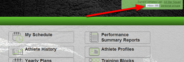 The Messages capabilities appear with the account information (top right of the page) and in multiple pages (in the calendar, the athlete history, the reports) throughout the site