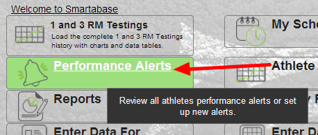 The Performance Alerts button is on the Home Page of the System