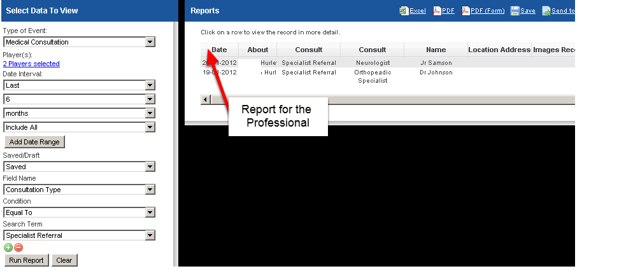 An example of the Reports once it is run by Professional that the Report was shared with