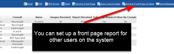 """The Shared Front Page Reports are set up and shared exactly the same as the """"Save Copy to Users"""" capability. However, the reports appear on the Users Home page"""