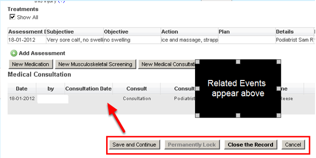 """The Related Events now show on all users systems above the """"Save and Close"""" buttons for that specific Event Form"""