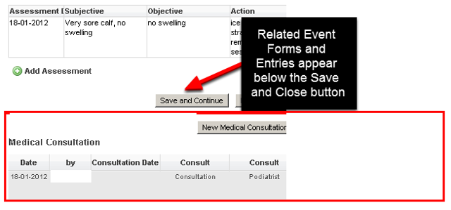 """Previously, the related events buttons and any related event records all appeared below the """"Save and Close"""", """"Save and Lock"""" and """"Cancel"""" buttons (as shown here)"""