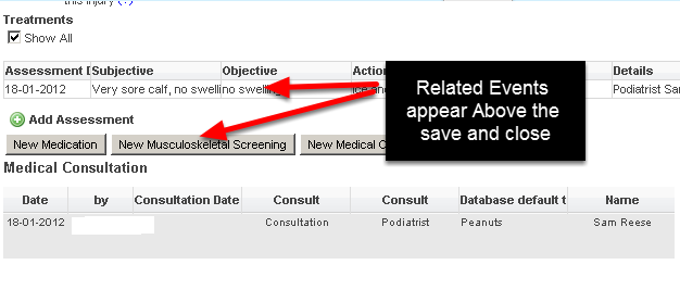 Now you can set the Related Event Forms and Entries to appear above the Save and Close buttons (as shown here)