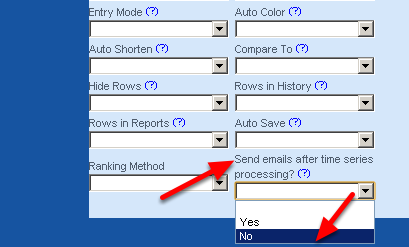 """To Turn off the GPS or Time Series Analysis Notification, go to the Form Property's : Advanced Properties Section and select No for the """"Send emails after time series processing"""" Form Property. Then save the form and no alerts will be sent."""