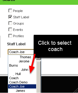 4.0 You can click to on staff labels to be shown the athletes that are coached/managed by one of these coaches/professionals
