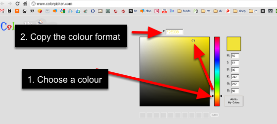 The image here shows the Colour Picker Website that allows you to get the hex code of any colour