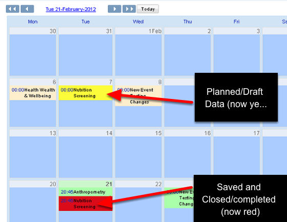 Now the Draft and Completed events for that Event form will be coloured accordingly in the Calendar view