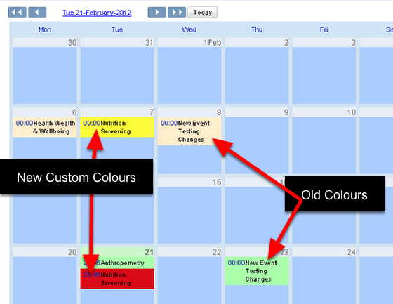 You can now set custom background colours for any event form when it appears in the Calendar page