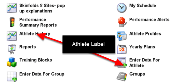 Changes to Enter Data for athletes button when the user label is Athlete