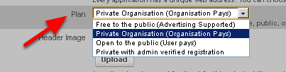 Plan type should always be set to Private Organisation (Organsation Pays). If it is site with online User registration it will be set differently.