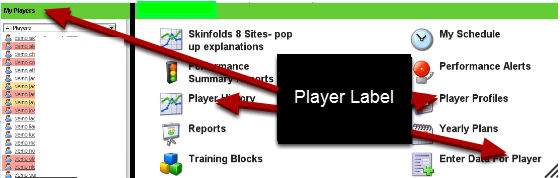 """Changes to Enter Data for athletes button when the User Label is """"Player"""""""