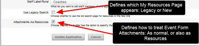 The My Resources Search Functionality and changing Attachments to Resources is now set up on the Edit Application Details page