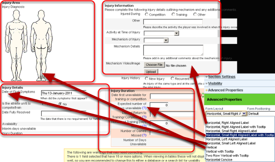 To fully understand the different section layout possibilities, you can set each section can have a different layout using the Form Layout options (shown here)