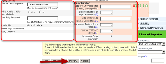 Once you apply a Layout, click on Preview to see how the Sections change with the different layout combinations