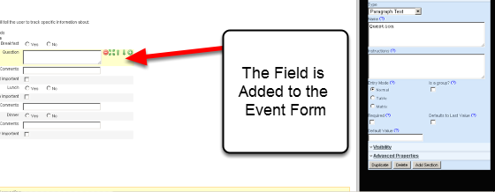 When you click on a Field Type in the Form Builder it is added to the Event Form