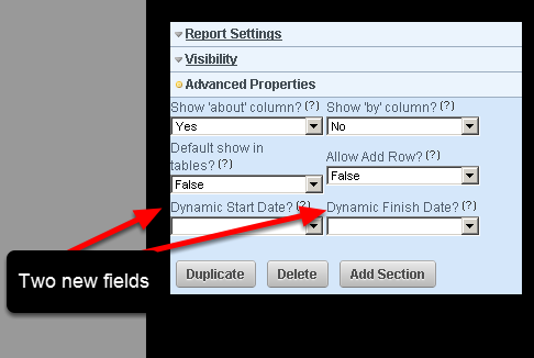 In the Advanced Properties Section for the Report, there are now two additional fields. These are called Dynamic Start Date and Dynamic Finish Date
