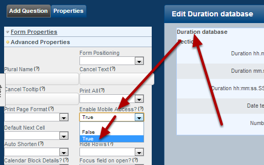In the Database Advanced Properties, set the Enable Mobile Access to True