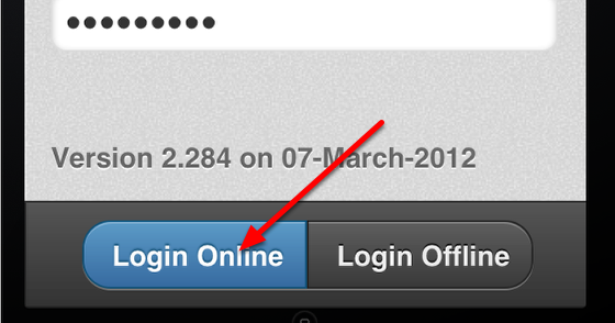 Select to Login Online (the first time you login)