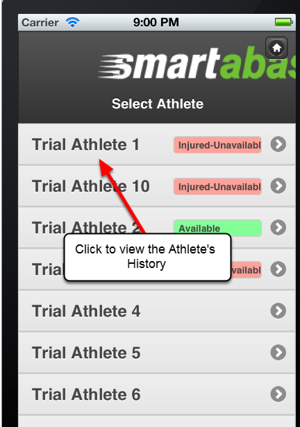 Select the name of the athlete you want to view. If your group has more than 25 athletes in it, the athletes will be grouped by last name (as shown in the image in the step below)