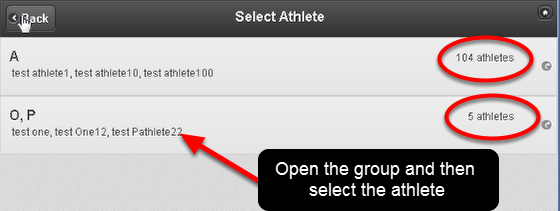 N.B. If you have more than 25 athletes in the group that you are accessing, the athletes will be condensed into last name groupings. This prevents a lot of scrolling.