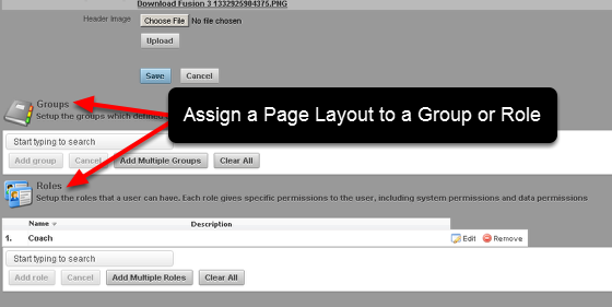 You can set up a custom layout and apply it to a Group/s or to a Role/s