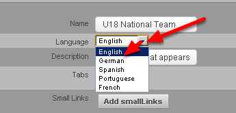 Choose the language that you want the Site to Appear in. Select from English to French