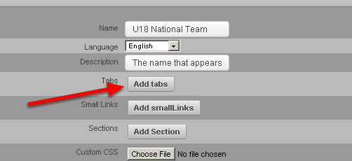 """In the Tabs, section you can select the Modules that you want to appear as Tabs along the top of the Site. Click on the """"Add tabs"""" button"""