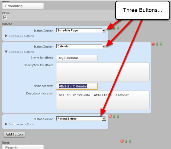 Add in the Buttons that you require for this Section. You can customise each button using a different name if you need.