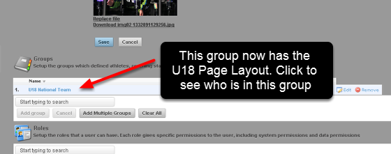 In this example, the U18 National Team Page Layout (created in the previous lessons in this section) will be added to the U18 National Team Group