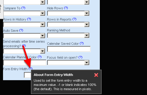 At the bottom of the Advanced Properties Section, you can set the Form's Entry Width