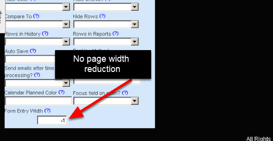 Set the width in Pixels to your required width. If you set it to -1 (as shown here) or leave it blank it will not reduce the page width