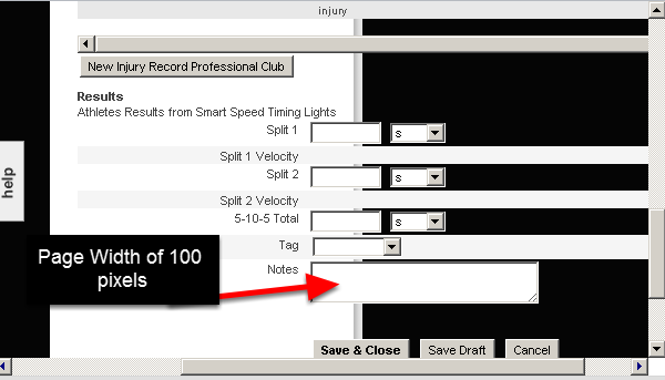 However, if you set a form to 100 pixels and you reduce your browser page to very small (smaller than the image in the step above) you will see that the fields still show, but they show outside the boundary of the 100 pixel page width.