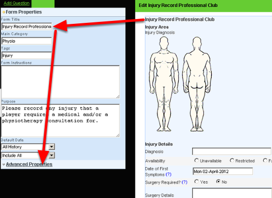 To set up the Body Diagram, you need to go to the Advanced Properties of the Event Form that has the Related Event Forms set for it (e.g the Injury Record)