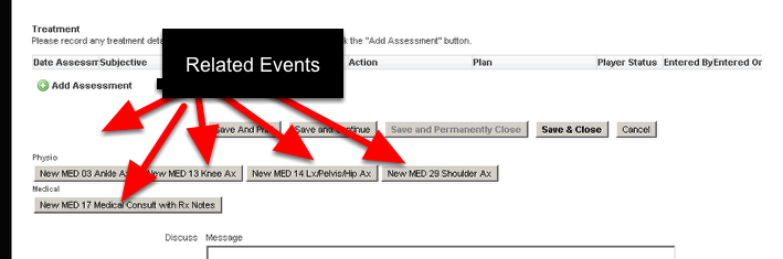 Some systems have a lot of Related Event Forms set up for Assessment of specific body areas
