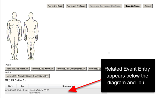When the Related Event is completed and Saved, the details appear under the Related Event Body Diagram, and/or the Related Event buttons