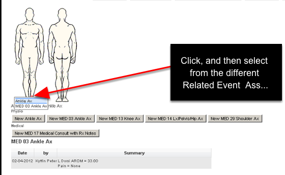 If there are multiple Related Events set up for the same body area when you click on the Body Area, you will be able to select which Related Event to Enter