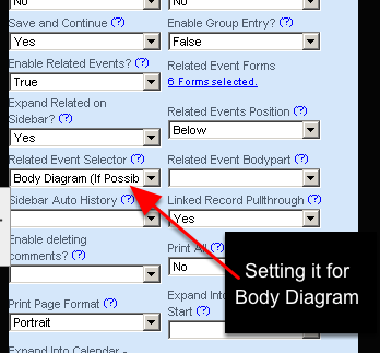 """If you JUST set up the Related Events to appear using the """"Body Diagram (If Possible)"""" the system will try and limit it to only show the Body Diagram. But, if Related Events such as Medication forms are set as Related Events these will appear as buttons."""