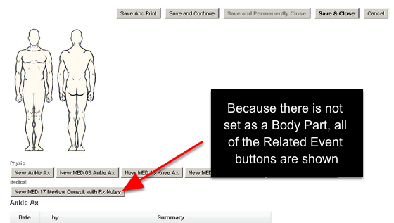 """An example of the Related Event Selector set as """"Body Diagram (If Possible)"""", but one of the forms is not set to appear in the Related Event Body Diagram. The buttons still appear"""