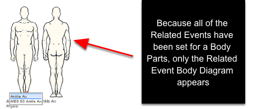 """An example of only the Body diagram appearing when the """"Related Event Selector"""" is set as """"Body Diagram (If Possible)"""". This occurred because all of the Related Events have been set with a Body Part."""