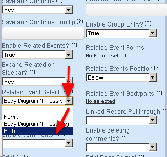 The Default is Normal (e.g. the Related Event Form display the Related Events alphabetically as buttons). You can select for the Related Event Forms to appear in the Related Events Body Diagram ONLY, or in the Body Diagram and also as the buttons