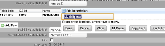 This example shows the Name and Description autofilling from the ICD 10 Code. This works the same as a database field