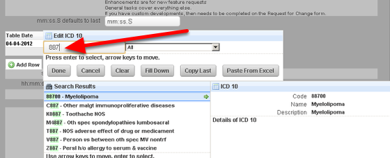 When the ICD 10 code is selected, if the Name and Description Fields are set up correctly they will autofill with the Name and Description from the ICD 10 code